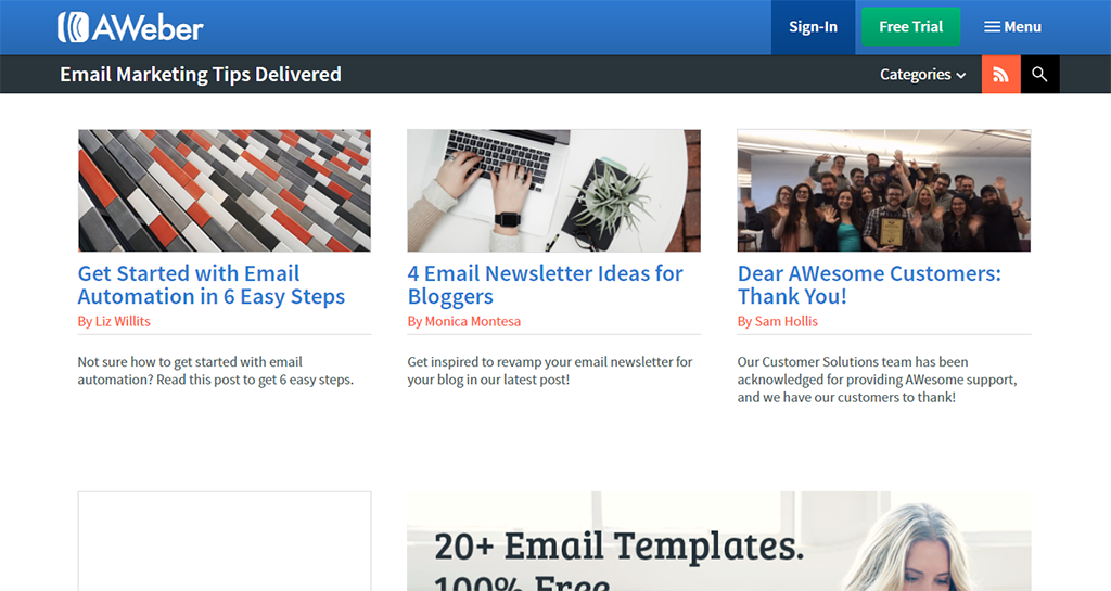 AWeber : Email-маркетинг с экономией времени