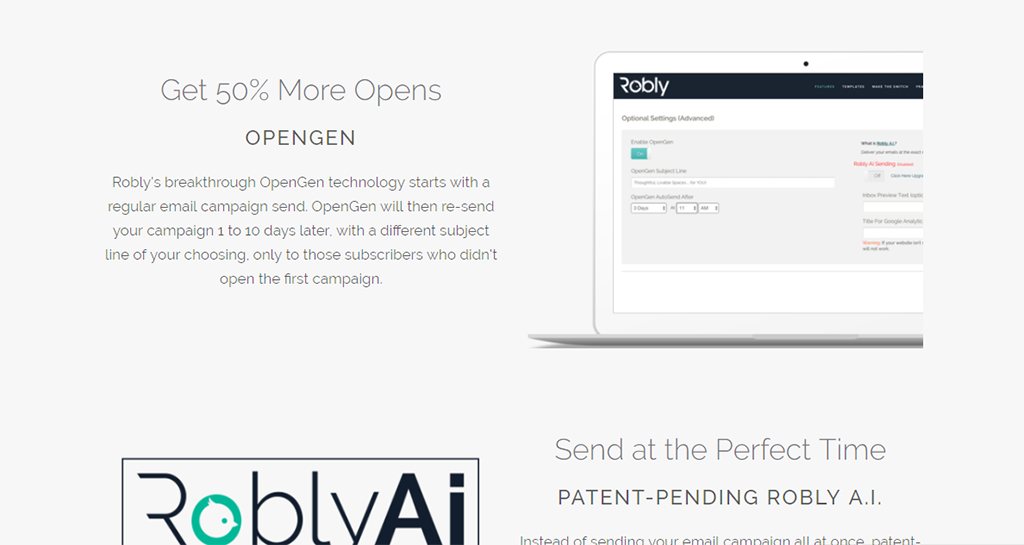 robly email marketing, get 50% more opens sendrating rurobly email marketing, get 50% more opens